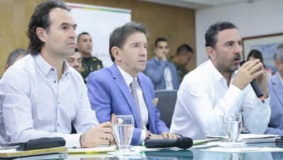 Left to Right:  Medellin Mayor Federico Gutierrez; Antioquia Governor Luis Perez; EPM general manager Jorge Londoño de la Cuesta at February 5, 2019 press conference