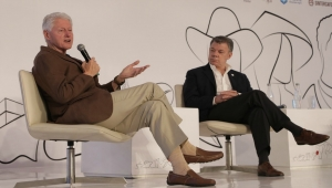 U.S. Ex-President Bill Clinton, Colombian President Juan Manuel Santos at World Coffee Producers Forum
