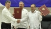 Left to Right: Colombia President Santos, Cuba President Castro, FARC Leader 'Timochenko'
