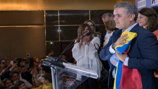 Ivan Duque (foreground) Accepting Nomination for President of Colombia; Marta Lucia Ramirez (right, behind)