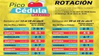 Medellin 'Pico y Cedula' Numbers Rotate for Weeks of April 13-19, April 20-26