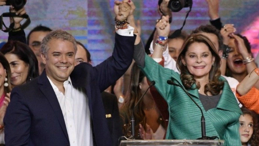 Colombia's Newly Elected President Ivan Duque (left), New Vice-President Marta Lucia Ramirez (right)