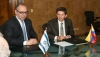 Left to right: Israeli Ambassador Marco Sermoneta, Antioquia Gov. Luis Perez
