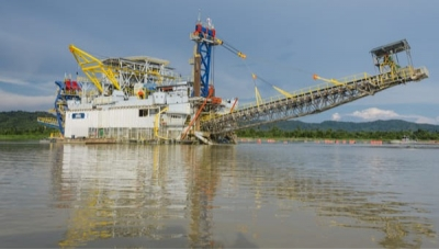 Mineros SA Alluvial Gold Mining Barge in Antioquia, Colombia