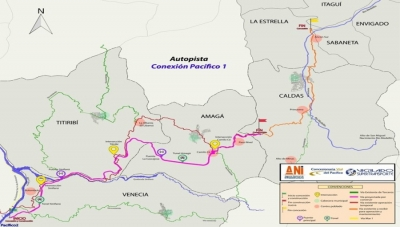 'Pacifico 1' Route Map Between Medellin's Southern Suburbs and Cauca River at Bolombolo