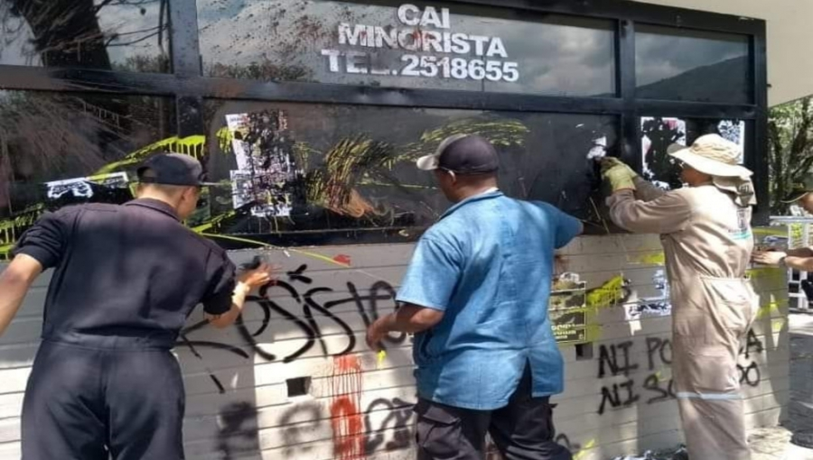 Medellin City Employees Restoring Police Station Attacked by Left-Wing Extremists During January 21 Protest March