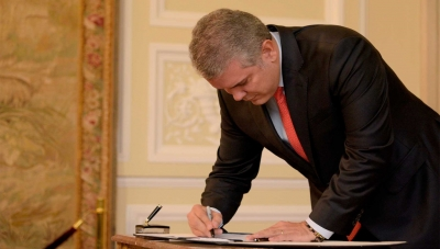 Colombia President Ivan Duque Signing 2020 Tax Law