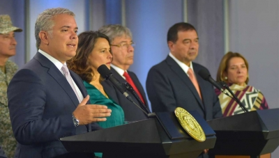 Left to right: Colombia President Ivan Duque; Interior Minister Nancy Patricia Gutierrez; Defense Minister Carlos Holmes Trujillo; Attorney General Fabio Espitia and Justice Minister Margarita Cabello at January 9, 2020 Press Conference
