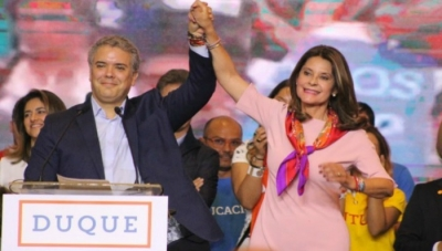 Colombia Presidential Front-Runner Ivan Duque (left) and Vice-Presidential Candidate Marta Lucia Ramirez
