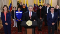 Colombia President Duque, Cabinet Members at Coronavirus Quarantine Press Conference